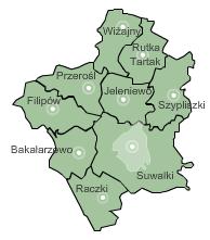 Žemėlapis rajono savivaldybės Suvalkai